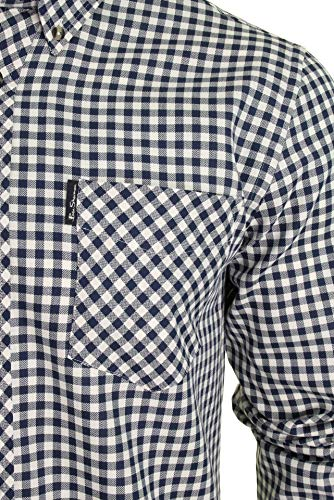 Ben Sherman Mens Long Sleeved Shirt - Brushed Gingham Check (Ink) M