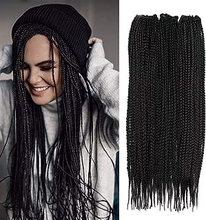 3 Packs Box Braids Crochet Hair 20 Inch Black 3X Synthetic Braiding Hair Extensions Crochet Braids Hair (20inch,3Packs, 2)