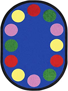 Joy Carpets Kid Essentials Early Childhood Oval Lots of Dots Rug, Multicolored, 5'4