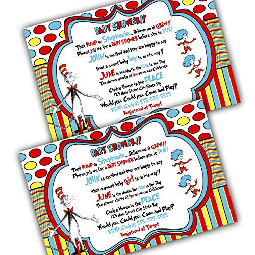 Dr. Seuss Baby Shower Invitation and Thank you Cards with Envelopes