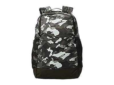 Nike Brasilia Medium All Over Print Backpack 9.0 (White/Sequoia/Metallic Cool Grey) Backpack Bags