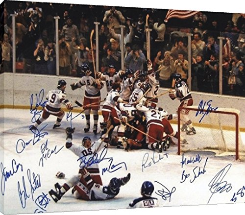 16x20 Canvas Wall Art: Miracle on Ice 1980 US Olympic Hockey Team Autograph Replica Print
