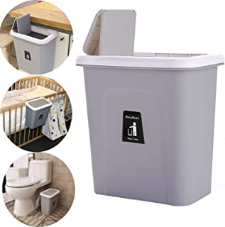 KARYHOME Hanging Trash Can for Kitchen Cabinet and Office,Small Garbage Can with Lid for Bedroom and Bathroom,Diaper Trash Can,Dog Proof Trash Bin,Grey