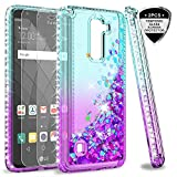 LG Stylo 2 V/Stylo 2/ Stylo 2 Plus/Stylus 2 Case with Tempered Glass Screen Protector for Girls Women, LeYi Shiny Glitter Moving Quicksand Clear Bling Phone Case Cover for LG LS775 ZX Teal/Purple