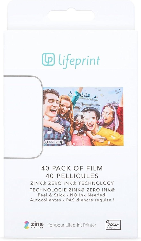 Lifeprint 40-er Packung Film für den Augmented Reality Foto- UND Video-Drucker, 3x4.5 Tintenlose Fotos mit Klebefolie auf der Rückseite B077BKH4FQ | Ausgezeichnete Qualität