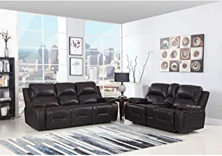 Blackjack Furniture 9422-BROWN-2PC The Brandon Collection 2-Piece Reclining Living Room Leather Sofa Set W/Console Loveseat, Brown