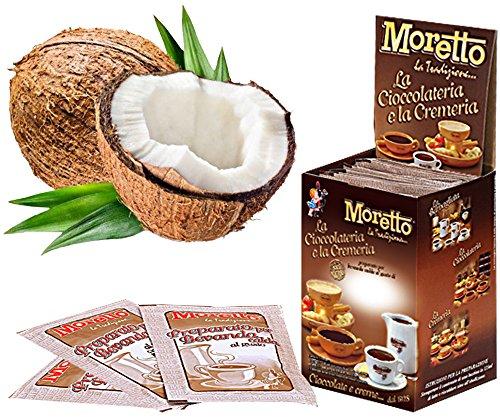 Cioccolata calda in tazza - MORETTO - gusto CIOCCOLATO e COCCO - 1 scatola con 12 bustine