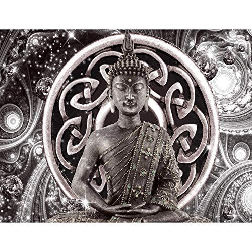 Runa Art Fototapete Buddha Diamant Modern Vlies Wohnzimmer Schlafzimmer Flur - made in Germany - Grau 9108010c