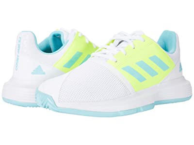adidas Kids CourtJam X Tennis (Little Kid/Big Kid) (White/Hazy Sky/Solar Yellow) Kids Shoes