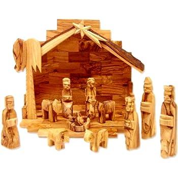 Holy Land Market Olive Wood Nativity Set Modern Style