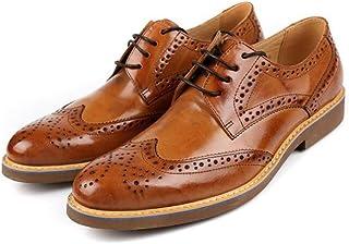 CHENGFA ビジネスシューズ メンズ 本革 紳士靴 外羽根 レースアップ ウイングチップ 革靴 ロングノーズ ドレスシューズ