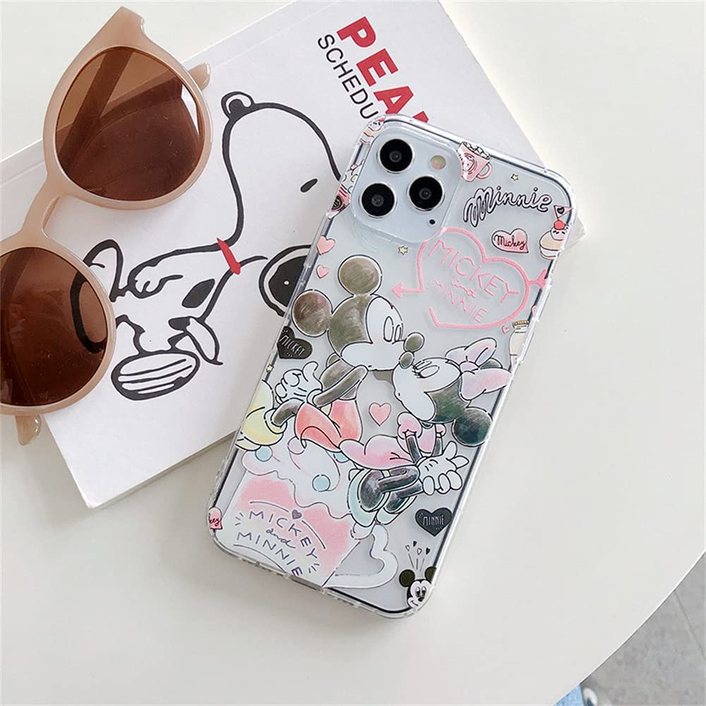Max-ABC Compatible with iPhone 13 Mini Cute Case,Minnie Mickey Mouse Girls Boys Women Kids Cartoon Kiss Love Ultra Thin Slim Gel Rubber Bumper Soft TPU Clear Protective Case Cover,Pink