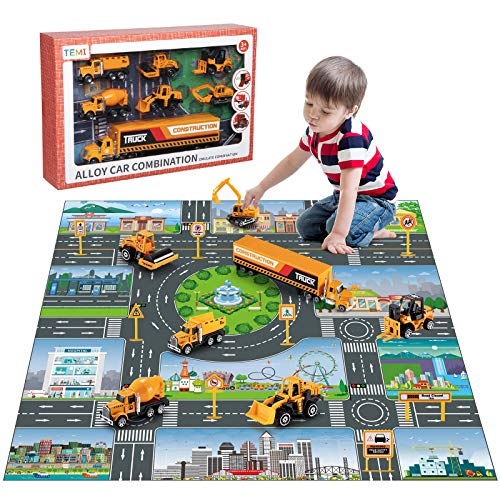 TEMI Diecast Engineering Construction Vehicle Toy Set w/ Play Mat,Truck Carrier,Forklift,Bulldozer,Excavator,Mixer,Dump Truck, Alloy Metal Car Toys Set for 3 4 5 6 Years Old Toddlers Kids Boys & Girls