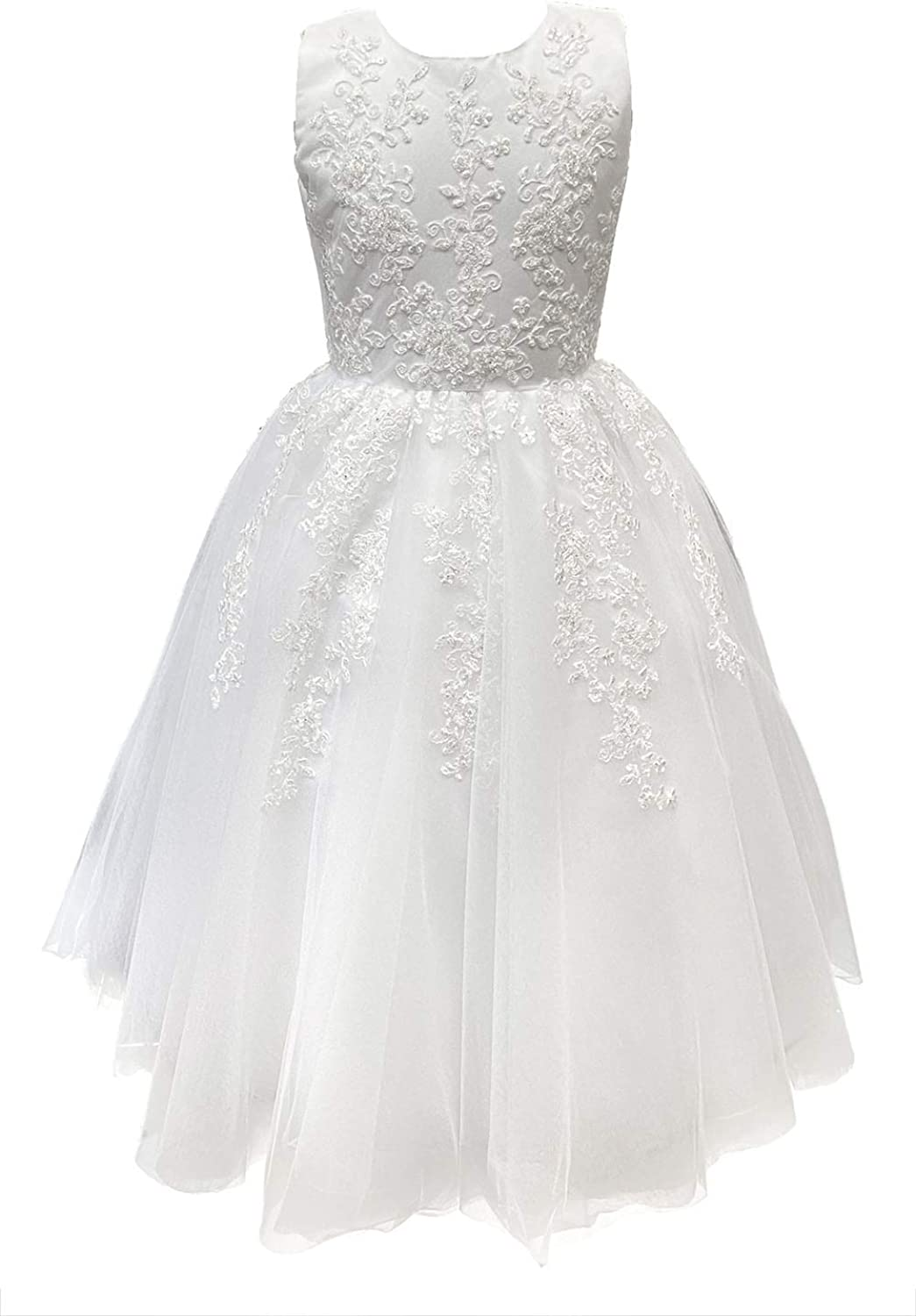 Joan Calabrese 1st First Communion Dresses for Girls 7-16 Mid Calf Teens Tea Length White