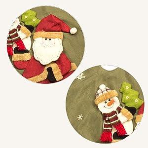 GSYYSZD Sapin de Noël Jupe, Décoration de Noël Père Noël Flocon de Neige Bonhomme de Neige d'arbre Tapis de Base Couverture Jute Holiday Party Décor Maison Ornement (120cm)