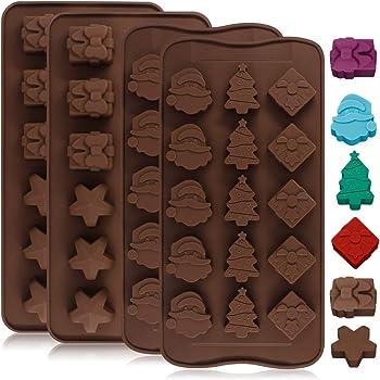 Yucool - 4stampi in silicone per caramelle, gelatine, torte e cioccolatini, adatti alla cottura, a forma di stella, confezione regalo, albero di Natale, Babbo Natale, 2 varianti