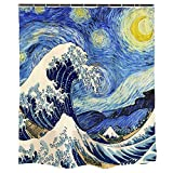 """Ofat Home Van Gogh Starry Night Shower Curtains for Bathroom Accessories, Japanese Painting Hokusai The Great Wave Off Kanagawa Bathroom Decor, No Liner Needed Washable, Blue, 72""""x72"""""""