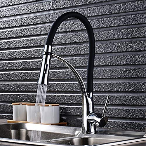 WNTHBJ keukenkraan, volledig koper warm en koud trekken keukenkraan, 360° draaiende keukenkraan met zwarte siliconen slang