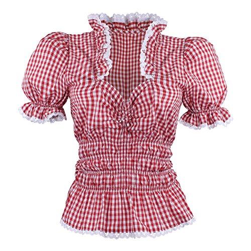 By Johanna Trachtenbluse Karobluse Dirndlbluse Kurzarm Rüschenbluse für Trachten Damen Bluse Rot Weiß kariert 52