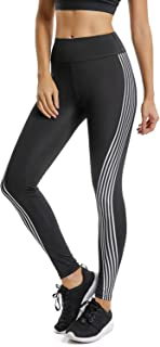 FITTOO Women's Side Iridescent Strips Printed Workout Leggings High Waist Yoga Pants with Reflective Material