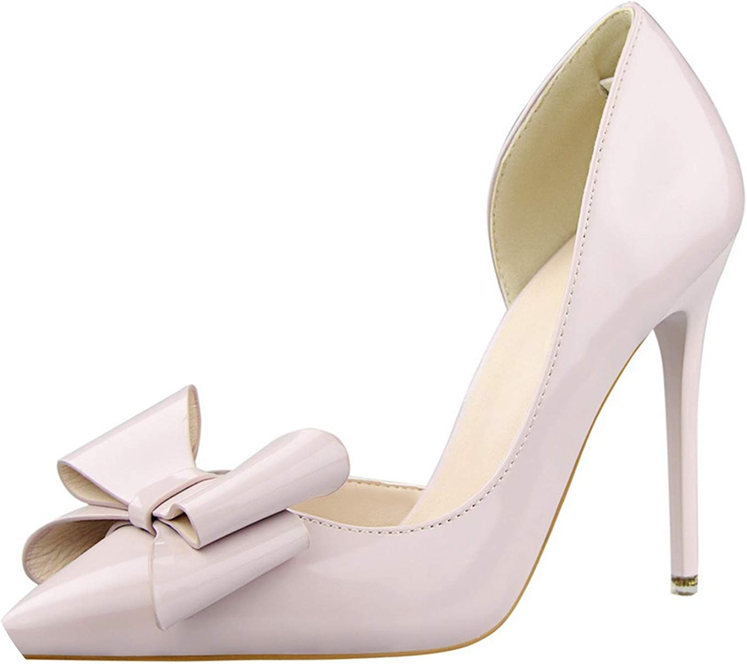 GO-SAMSARA HEELS Bowknot High Heel shoes Side Hollow Pointed Women Pumps Pointed Toe 10.5Cm Thin Dress shoes
