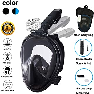 Ufanore Snorkel Mask [New Version 2.0] Full Face Snorkel Mask, Foldable 180° Panoramic View, Free Breathing, Anti-Fog and Anti-Leak Snorkeling Mask with Gopro Mount, Easy to Adjust
