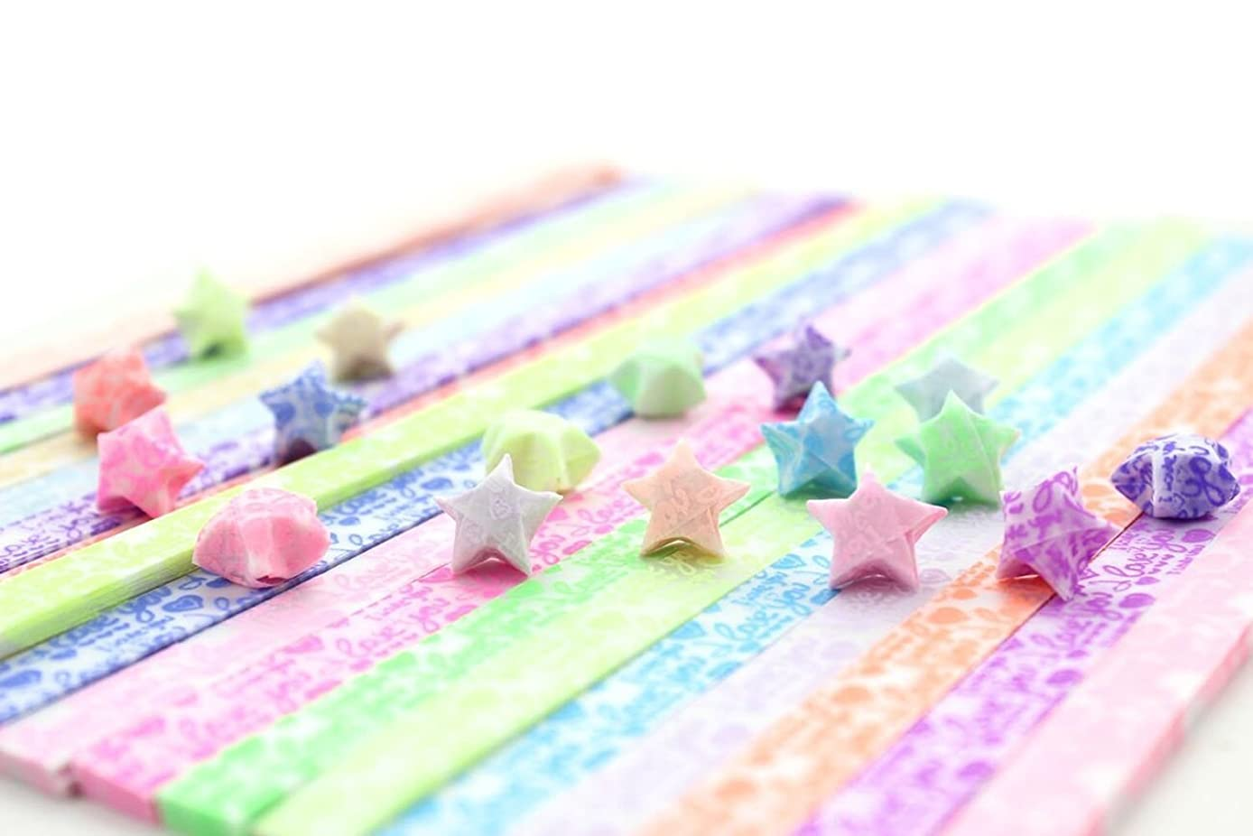 yueton 300 Sheets Glows in The Dark Stars Folding Paper - Lucky Wish Star Origami Paper - 10 Different Colors by Random