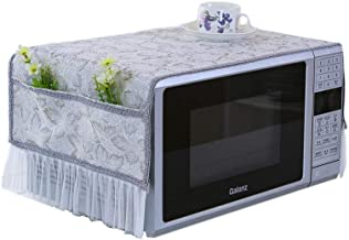 Chinashow Country Style Leaves Microwave Oven Dustproof Cover Oil Proof Lace Microwave Protector Gray