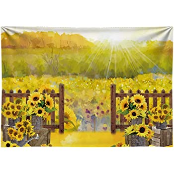 15x10ft Background Sunflowers Field Photography Backdrop Photo Props Room Mural LYFU082