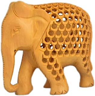 ETROVES 4 Inches Wooden Elephant Figurine Decor - Handmade Mother with Baby Inside Statue and Sculpture for Modern Home Decorations - Table Centerpiece