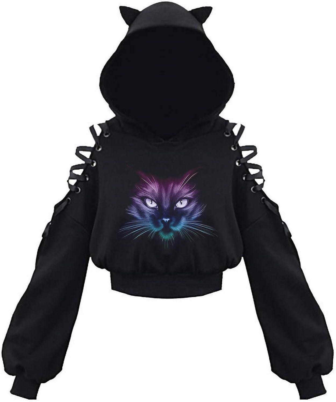 Tupenty Womens Cute Cat Ear Off Shoulder Hoodie Pullover Casual Long Sleeve Drawstring Sweatshirt Jumper Tunic Crop Tops