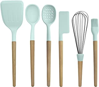 Country Kitchen 6 pc Non Stick Silicone Utensil Baking Set with Rounded Wooden Handles for Cooking and Baking - Mint Green