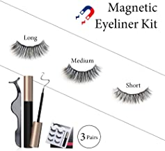 Magnetic Eyeliner and Lashes Kit, YOPITO 3 Different Size Eyelashes Set and Magnetic Eyeliner, No Glue Reusable False Eyelashes for Natural Look Charming Eyes