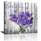 Canvas Wall Art for Bathroom Purple Lavender Kitchen Wall Decor Painting Modern Home Decor Girl Room Decorations for Bedroom Flowers Wall Decor Rustic Canvas Framed Art