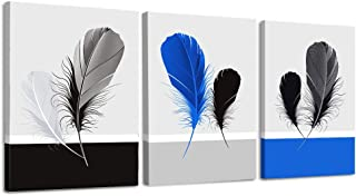 modern Black and white Blue feather canvas wall art for bedroom, wall decor for bathroom wall decorations for living room, 3 Piece kitchen Abstract wall painting Home Decoration Canvas Prints Artwork