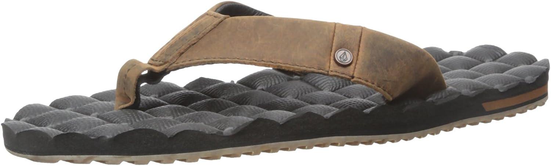 Volcom Men's Recliner Leather Sandal Flip Flop