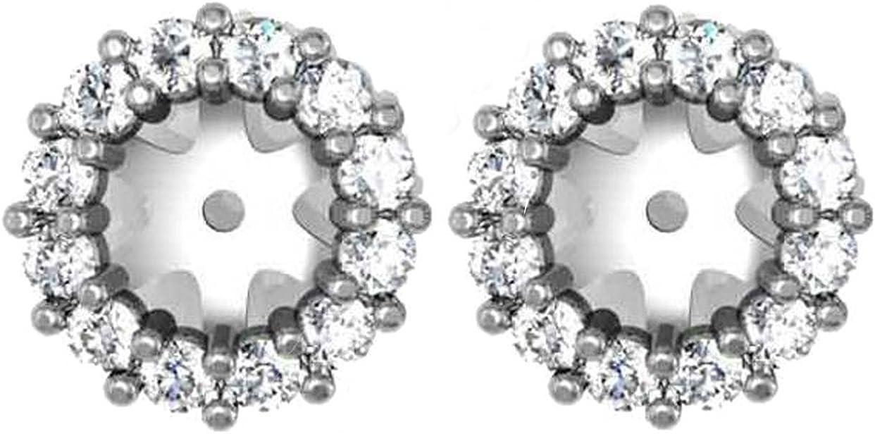 1/2ct Halo Diamond Earring Jackets 14K White Gold (5-5.5mm)