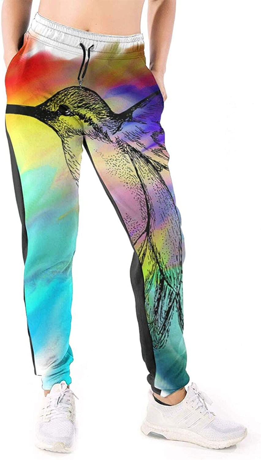 LONEA Women Joggers Pants Hummingbird Painting Abstract Athletic Sweatpants with Pockets Casual Trousers Baggy