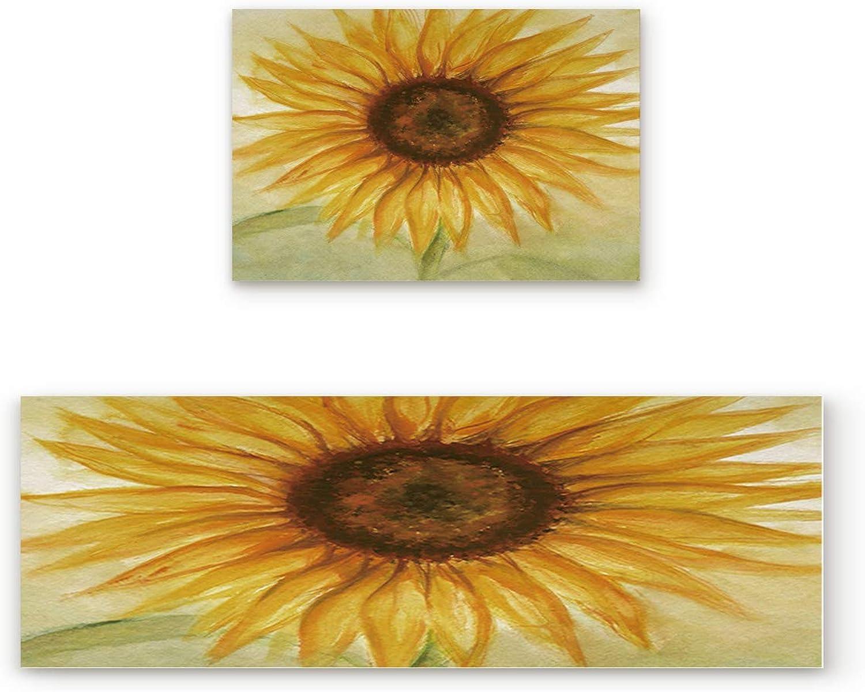 KAROLA 2 Piece Non-Slip Kitchen Mat Doormat Runner Rug Set Thin Low Pile Indoor Area Rugs Sunflower 19.7 x31.5 +19.7 x63