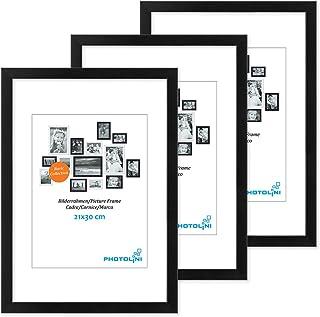 Photolini Juego de 3 Marcos 21x30 cm / A4 Modernos, Negros de MDF con Vidrio acrílico, Incluyendo Accesorios/Collage de Fotos/galería de imágenes