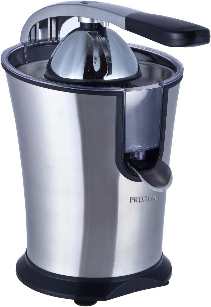 PRIXTON - Exprimidor Electrico de Naranjas Automatico, Exprime Zumos Fácilmente con 160 W de Potencia y 800 ml de Capacidad, Negro/Acero Inoxidable, Medidas 31x20x32 cm | XP1