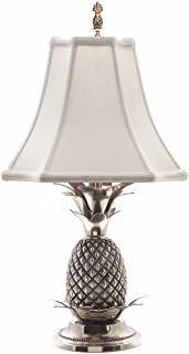 KensingtonRow Home Collection Lamps - Williamsburg Pineapple Table LAMP - Pewter Finish with Off White Shade