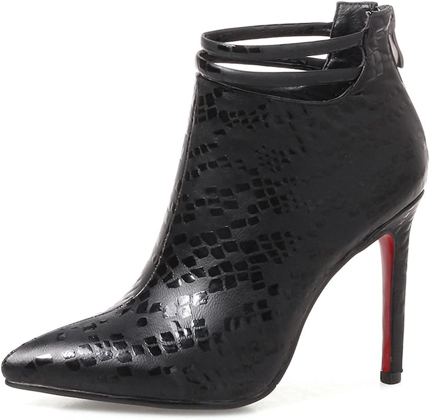 SaraIris Ankle Boots Stiletto Heels Pointed-Toe Zipper Strap Boots for Women