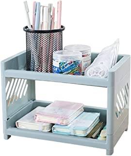 Phawta Foldable Desk Organizer Table Top Double Layer Rack Office Vanity Kitchen Pen Pencil Holder Stationary Diary Cosmet...