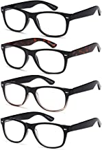 Gamma Ray Reading Glasses - 4 Pairs Spring Hinge Readers for Men and Women 0.75