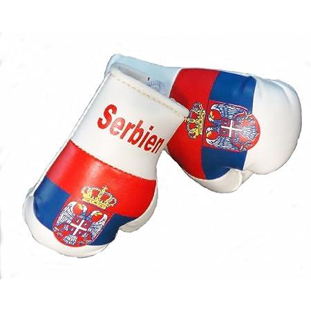Sportfanshop24 Mini Boxhandschuhe Serbien 1 Paar 2 Stück Miniboxhandschuhe Z B Für Auto Innenspiegel Auto
