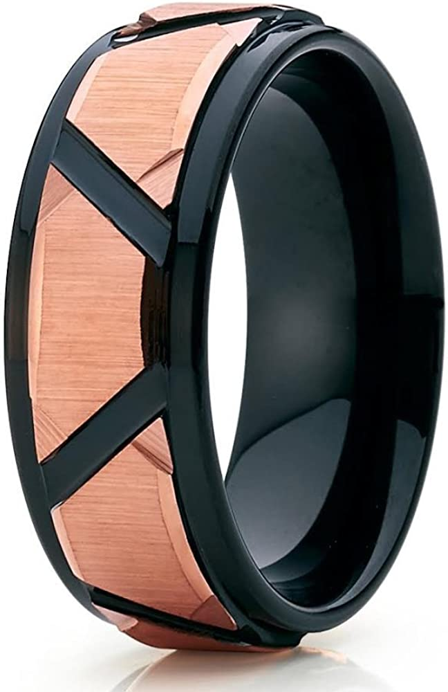 Silly Kings Black Tungsten Ring Gold Finally resale start 25% OFF Rose Wedding