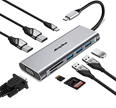 Docking Station, ANWIKE USB C Docking Station with 2 HDMI, VGA, 3 USB Ports, USB-C PD, SD/TF Card Reader, Triple Display USB C HUB (DP ALT) Compatible MacBook Pro & MacBook Air, ipad Pro,Dell XPS