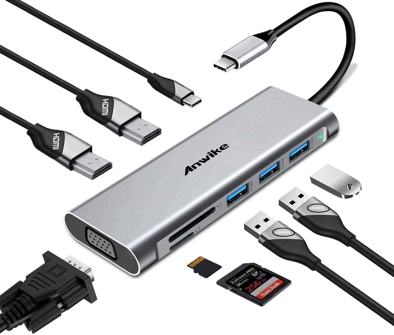 Docking Station, ANWIKE USB C Docking Station with 2 HDMI, VGA, 3 USB Ports, USB-C PD, SD/TF Card Reader, Triple Display USB C HUB (DP ALT) Compatible MacBook Pro & MacBook Air, Dell XPS