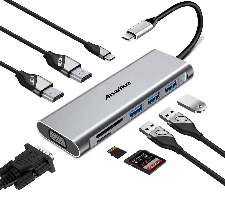 Docking Station, ANWIKE USB C Docking Station with 2 HDMI, VGA, 3 USB Ports, USB-C PD, SD/TF Card Reader, Triple Display USB C HUB (DP ALT) Compatible MacBook Pro & MacBook Air, ipad Pro,Dell XPS